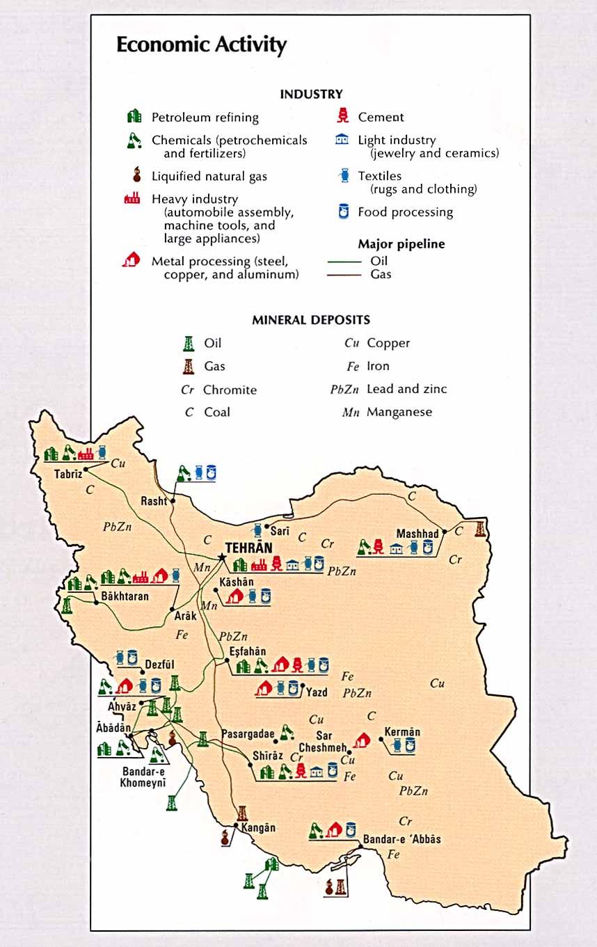 نقشه صنعت و معدن ایران